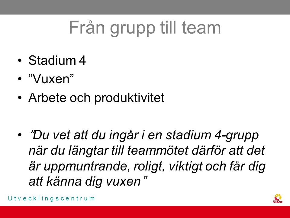 Från grupp till team Stadium 4 Vuxen Arbete och produktivitet