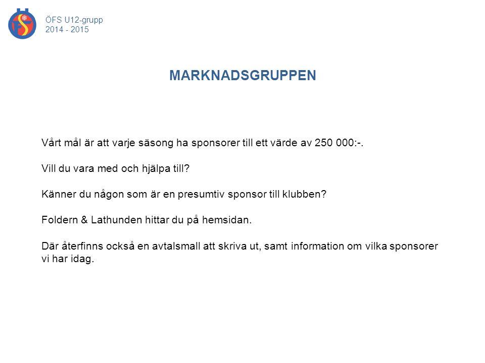 ÖFS U12-grupp 2014 - 2015. MARKNADSGRUPPEN. Vårt mål är att varje säsong ha sponsorer till ett värde av 250 000:-.