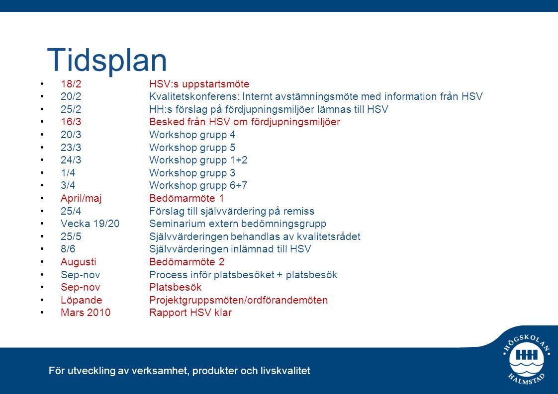 Tidsplan 18/2 HSV:s uppstartsmöte