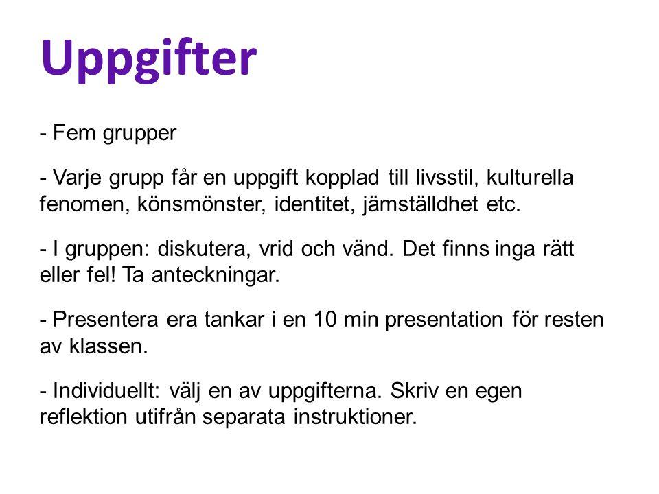 Uppgifter - Fem grupper