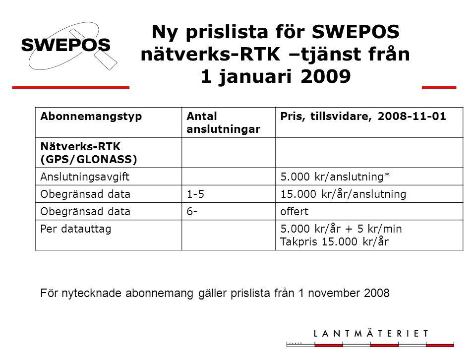Ny prislista för SWEPOS nätverks-RTK –tjänst från 1 januari 2009