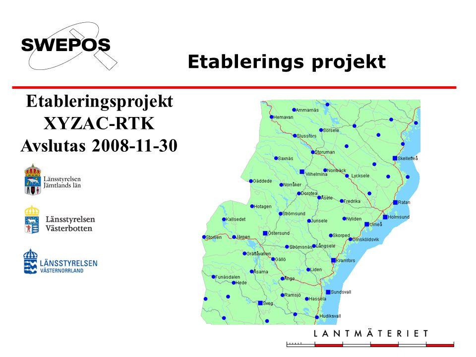Etableringsprojekt XYZAC-RTK Avslutas 2008-11-30