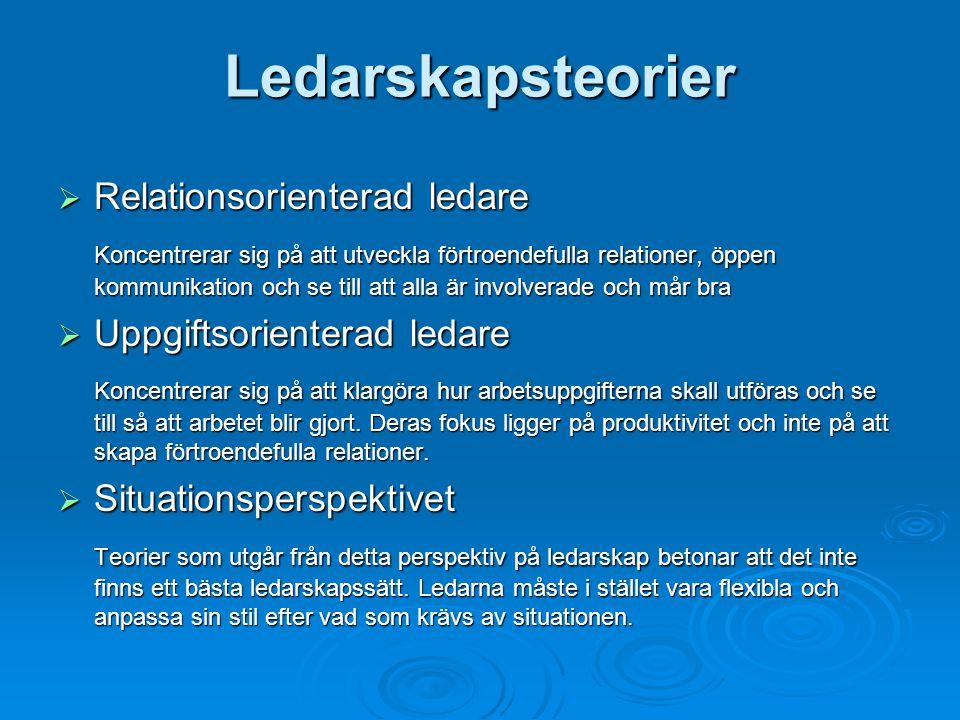 Ledarskapsteorier Relationsorienterad ledare