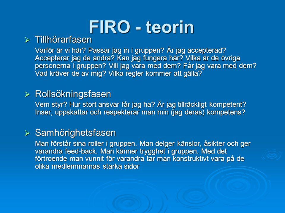 FIRO - teorin Tillhörarfasen Rollsökningsfasen Samhörighetsfasen