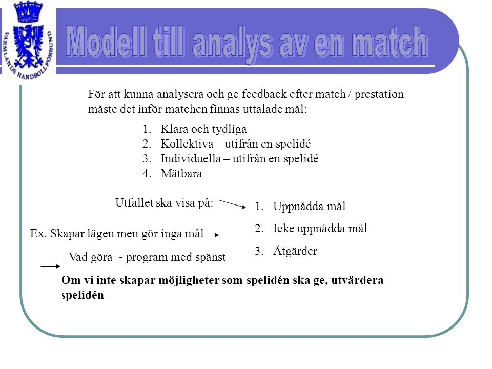 Modell till analys av en match