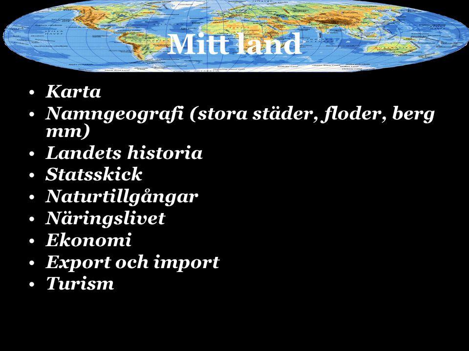 Mitt land Karta Namngeografi (stora städer, floder, berg mm)