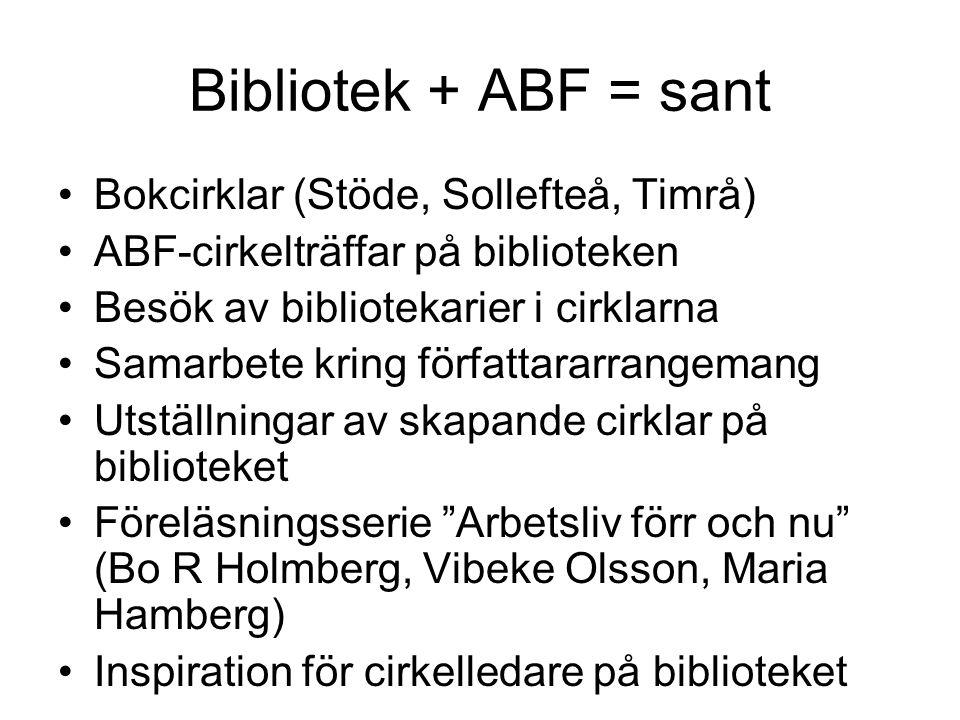 Bibliotek + ABF = sant Bokcirklar (Stöde, Sollefteå, Timrå)