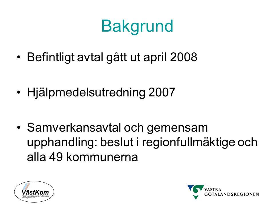 Bakgrund Befintligt avtal gått ut april 2008 Hjälpmedelsutredning 2007