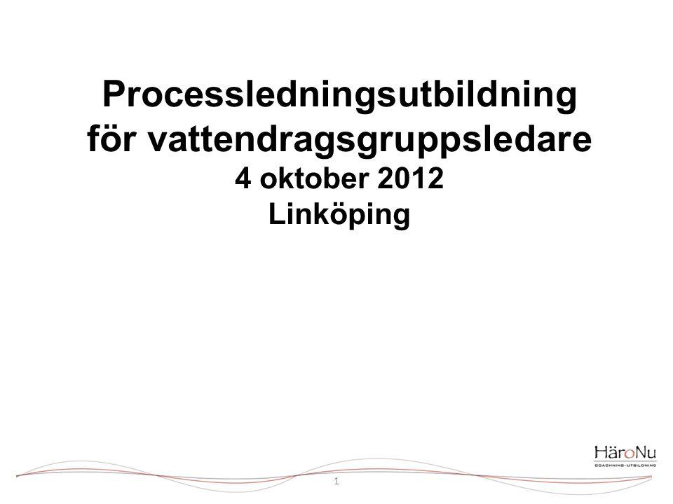 Processledningsutbildning för vattendragsgruppsledare 4 oktober 2012 Linköping
