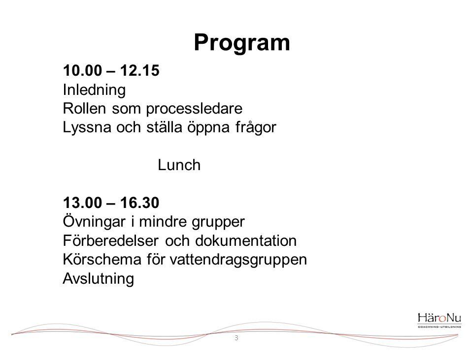 Program 10.00 – 12.15 Inledning Rollen som processledare Lyssna och ställa öppna frågor. Lunch 13.00 – 16.30.