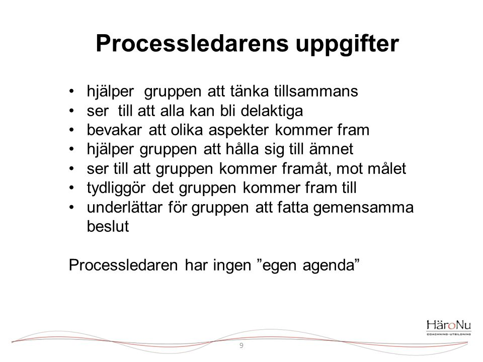 Processledarens uppgifter