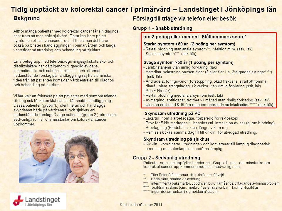 Tidig upptäckt av kolorektal cancer i primärvård – Landstinget i Jönköpings län