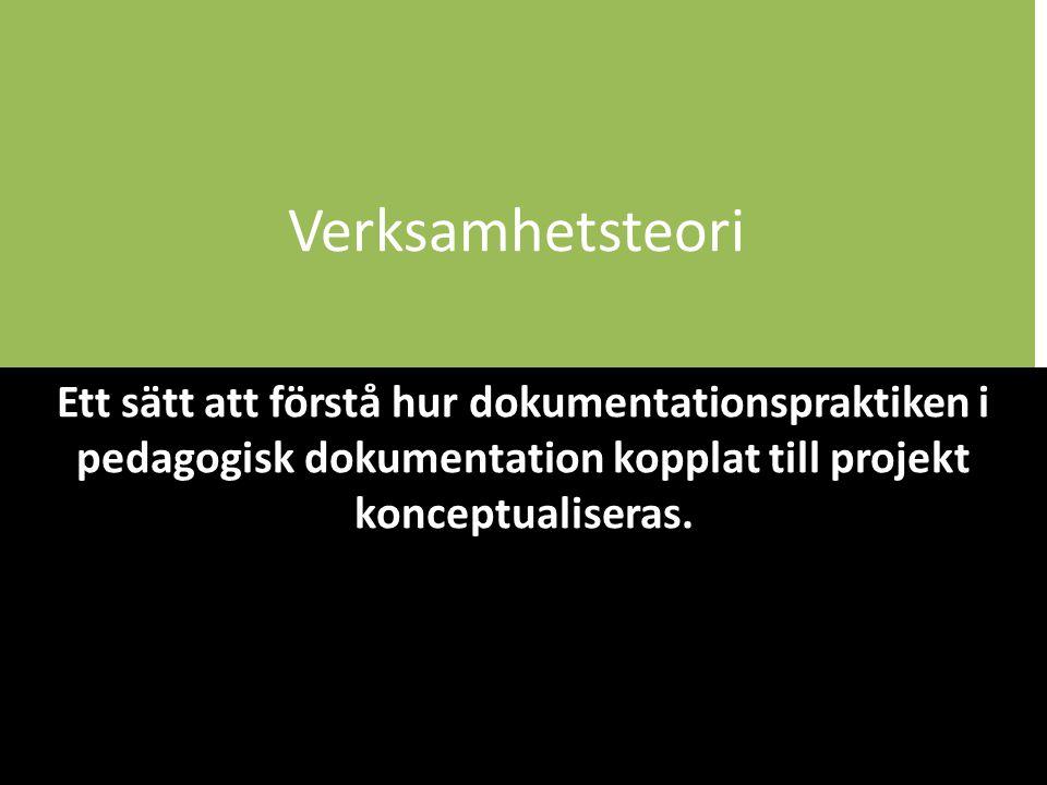 Verksamhetsteori Ett sätt att förstå hur dokumentationspraktiken i pedagogisk dokumentation kopplat till projekt konceptualiseras.