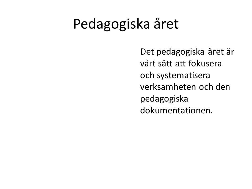 Pedagogiska året Det pedagogiska året är vårt sätt att fokusera och systematisera verksamheten och den pedagogiska dokumentationen.