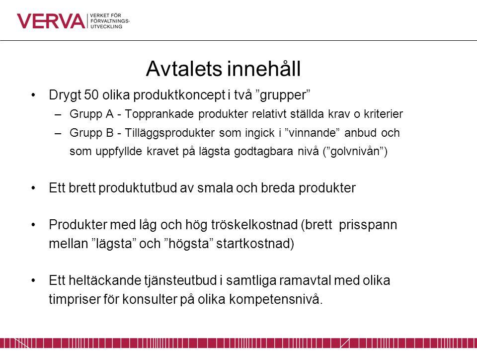 Avtalets innehåll Drygt 50 olika produktkoncept i två grupper