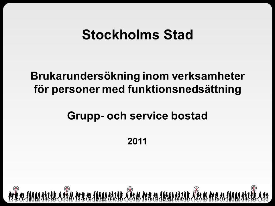 Stockholms Stad Brukarundersökning inom verksamheter för personer med funktionsnedsättning Grupp- och service bostad 2011