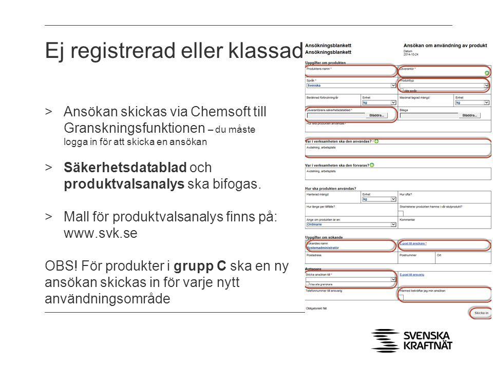 Ej registrerad eller klassad