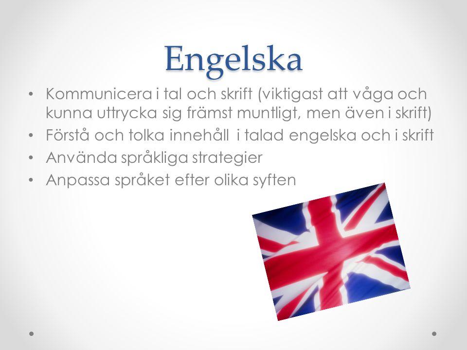 Engelska Kommunicera i tal och skrift (viktigast att våga och kunna uttrycka sig främst muntligt, men även i skrift)
