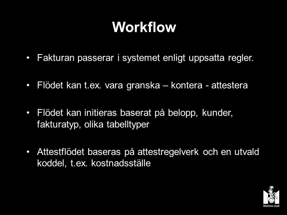 Workflow Fakturan passerar i systemet enligt uppsatta regler.