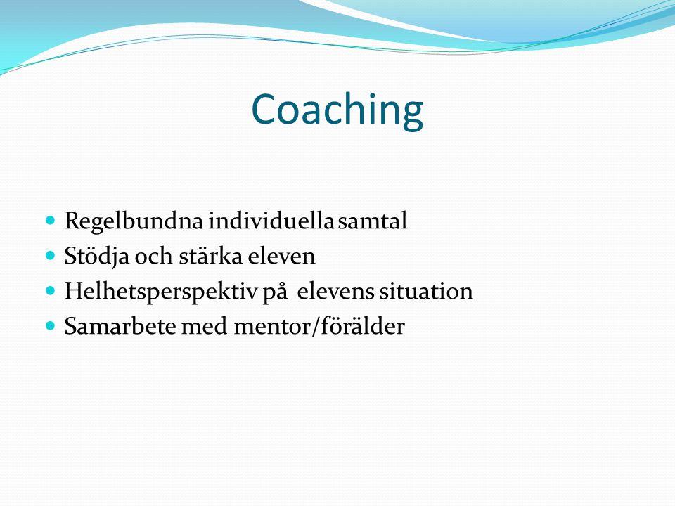Coaching Regelbundna individuella samtal Stödja och stärka eleven