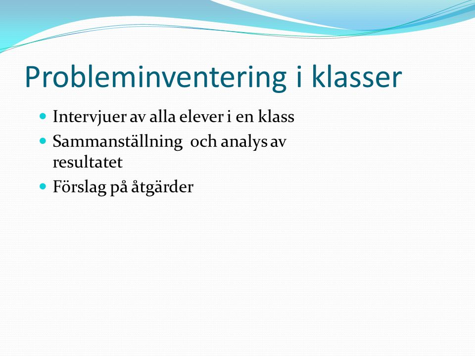 Probleminventering i klasser