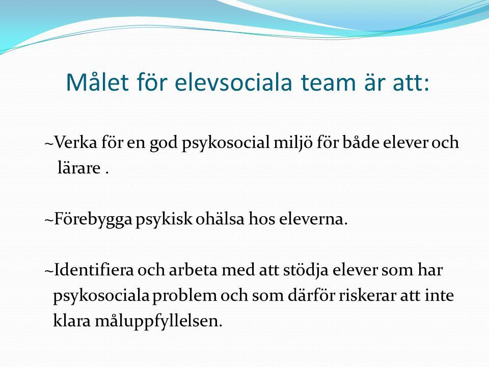 Målet för elevsociala team är att:
