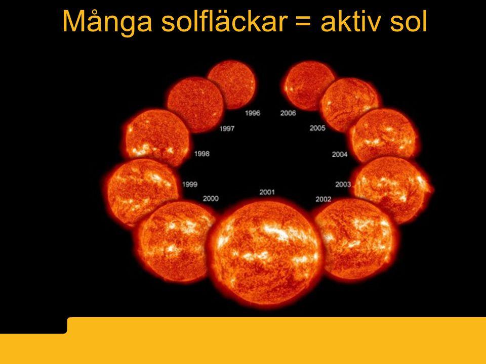 Många solfläckar = aktiv sol