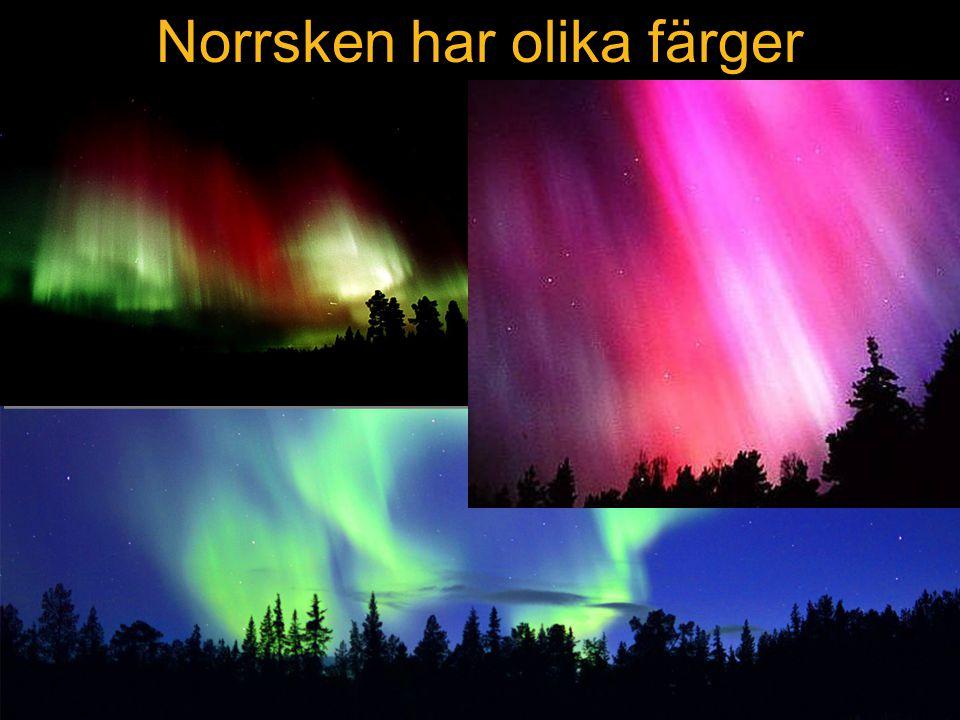 Norrsken har olika färger