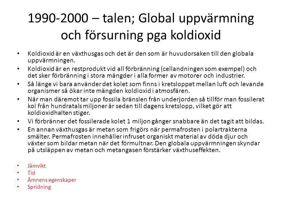 1990-2000 – talen; Global uppvärmning och försurning pga koldioxid