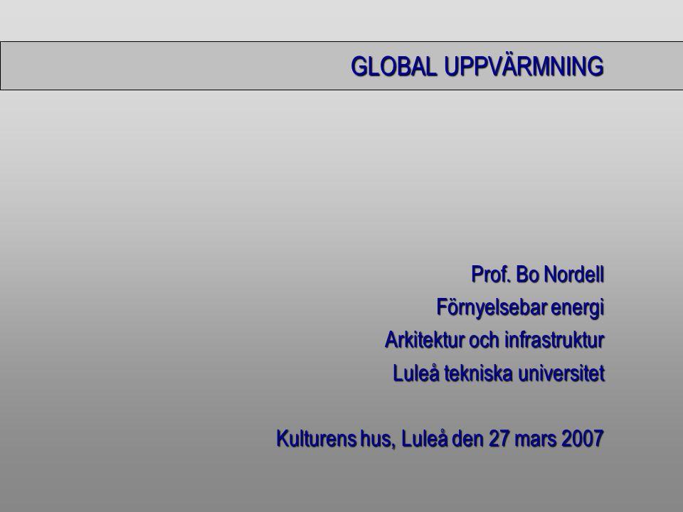 GLOBAL UPPVÄRMNING Prof. Bo Nordell Förnyelsebar energi