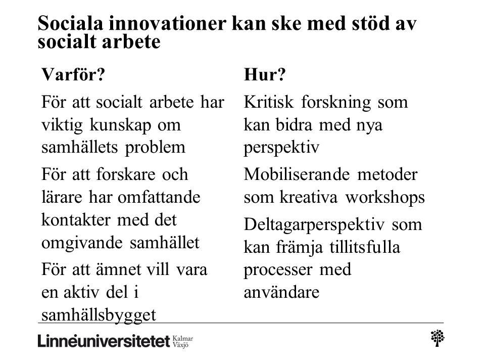 Sociala innovationer kan ske med stöd av socialt arbete