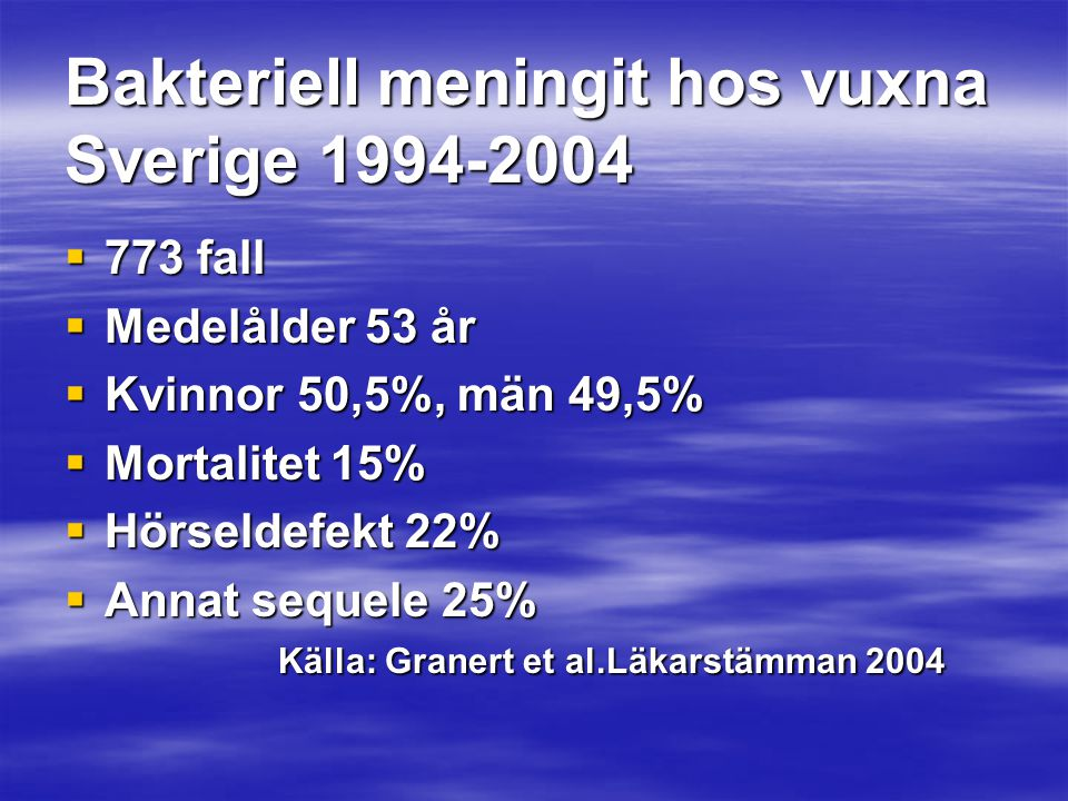Bakteriell meningit hos vuxna Sverige 1994-2004