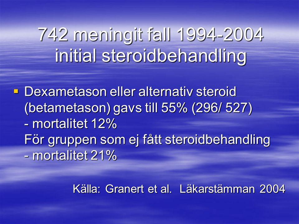 742 meningit fall 1994-2004 initial steroidbehandling