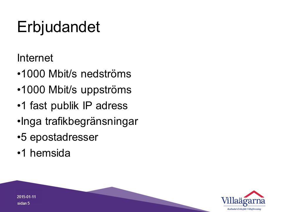 Erbjudandet Internet 1000 Mbit/s nedströms 1000 Mbit/s uppströms