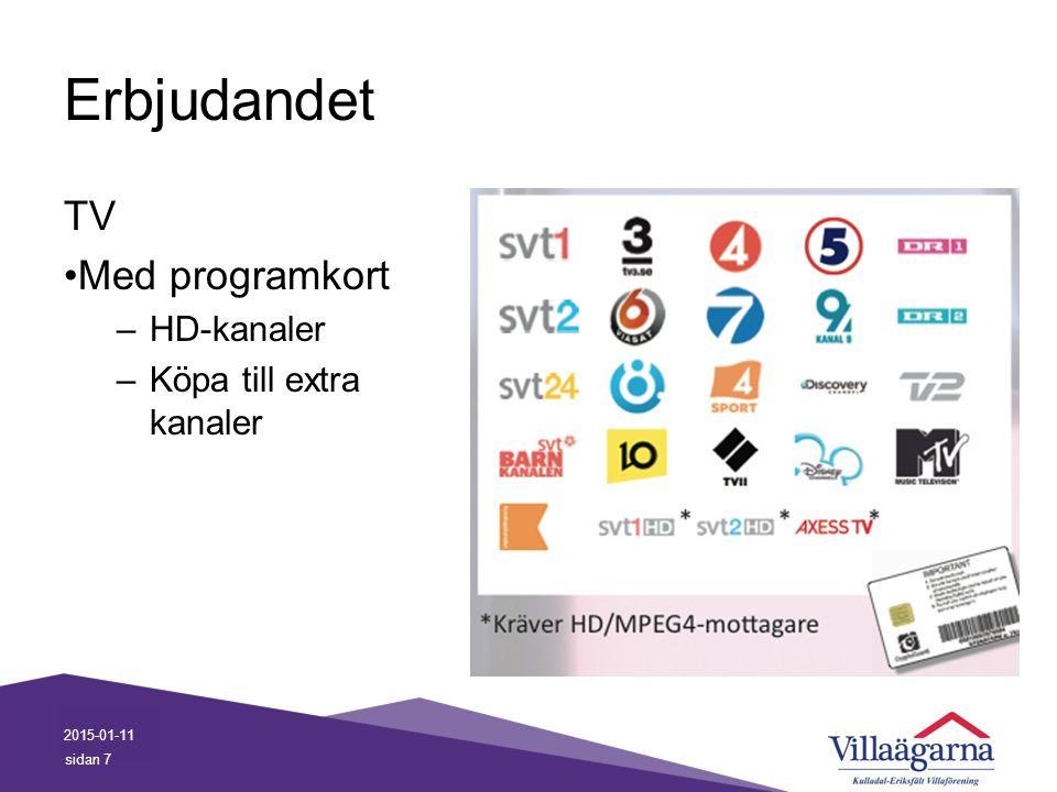 Erbjudandet TV Med programkort HD-kanaler Köpa till extra kanaler