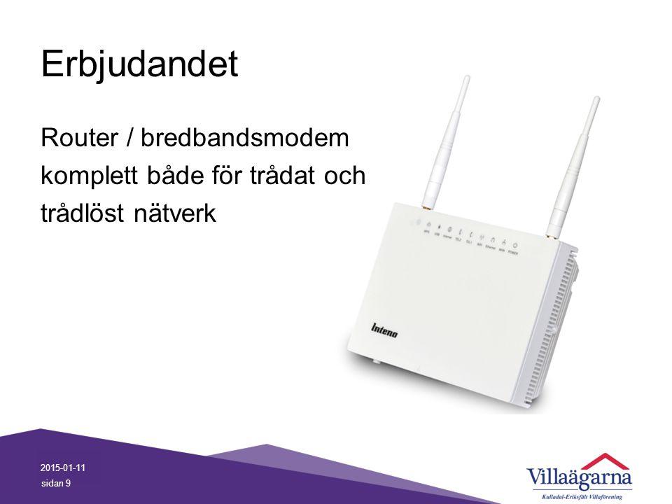 Erbjudandet Router / bredbandsmodem komplett både för trådat och trådlöst nätverk Trådlös kapacitet, beror på placering.