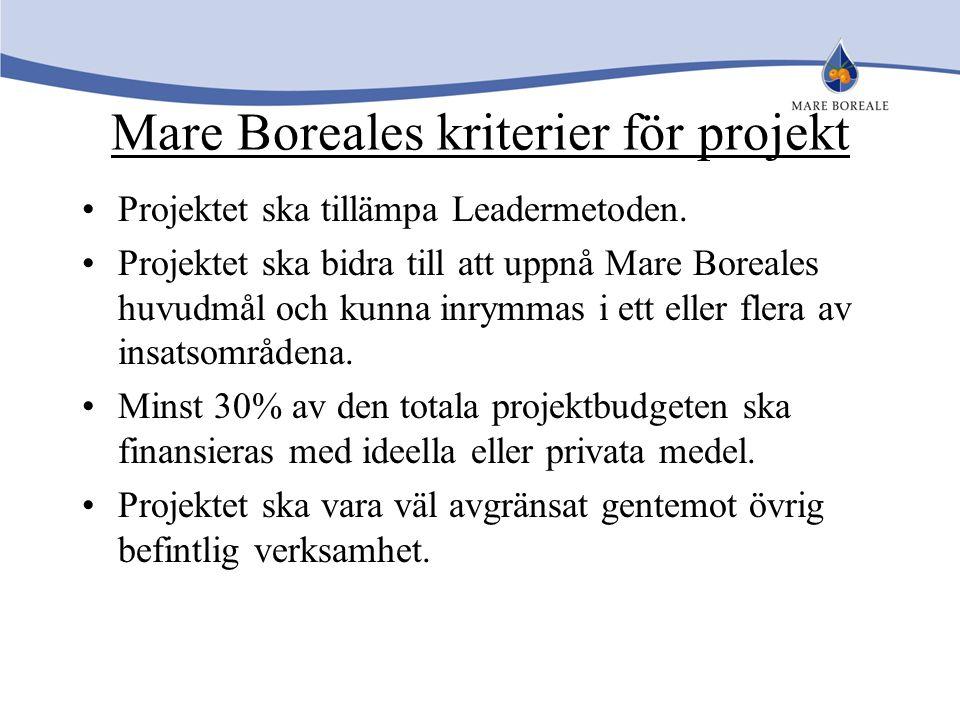 Mare Boreales kriterier för projekt