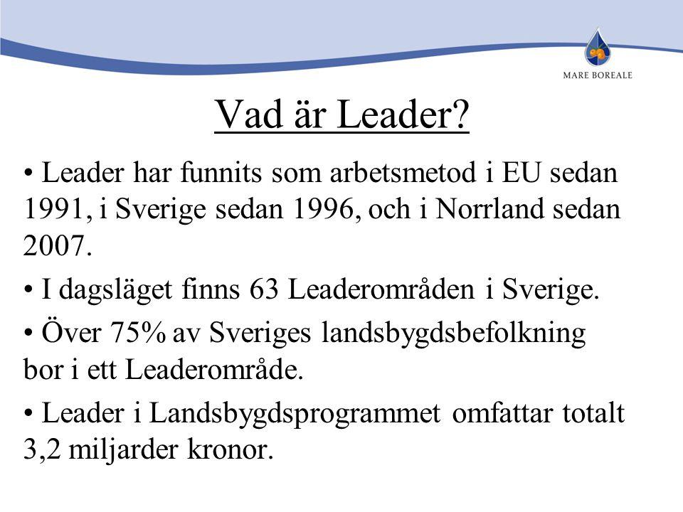 Vad är Leader Leader har funnits som arbetsmetod i EU sedan 1991, i Sverige sedan 1996, och i Norrland sedan 2007.
