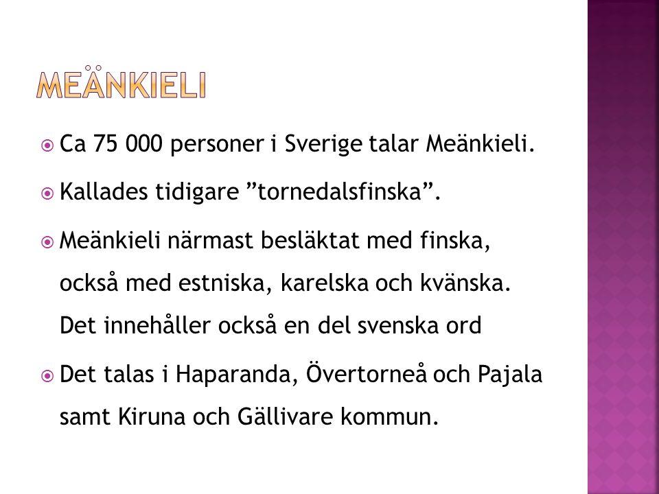 Meänkieli Ca 75 000 personer i Sverige talar Meänkieli.
