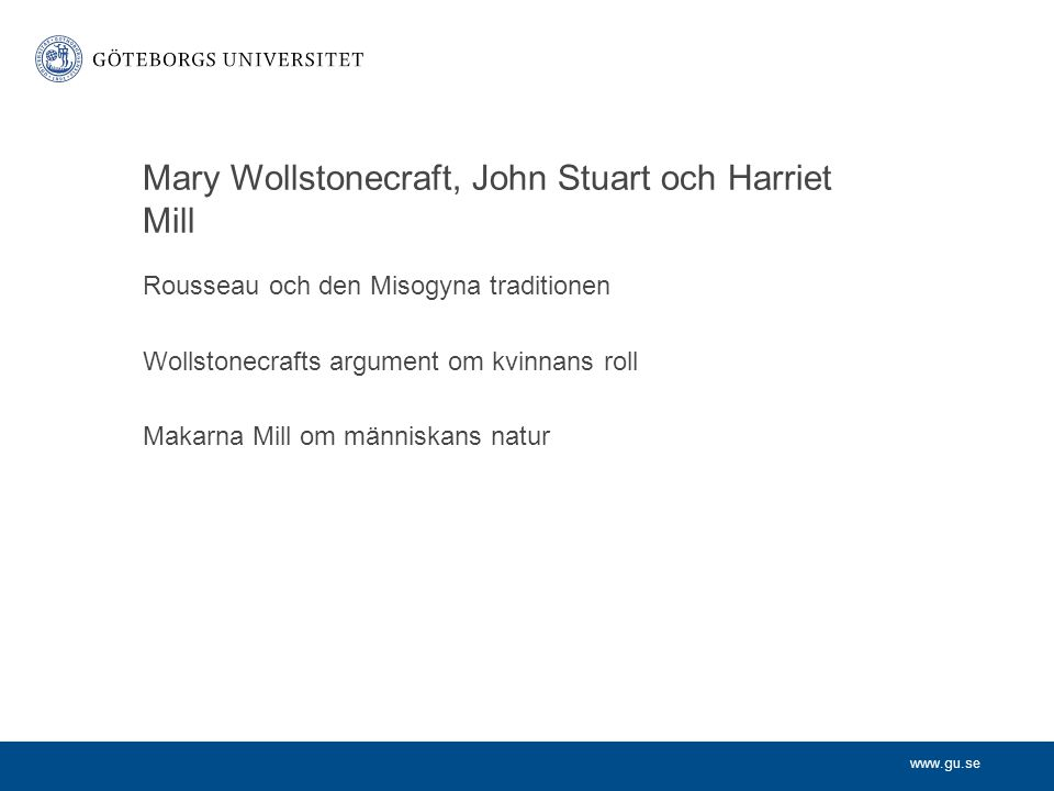 Mary Wollstonecraft, John Stuart och Harriet Mill