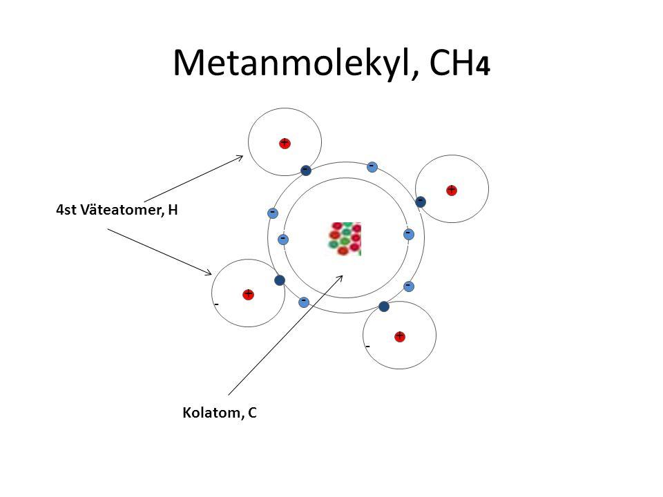 Metanmolekyl, CH4 + -- - -- -- - + -- -- - 4st Väteatomer, H - -- - --
