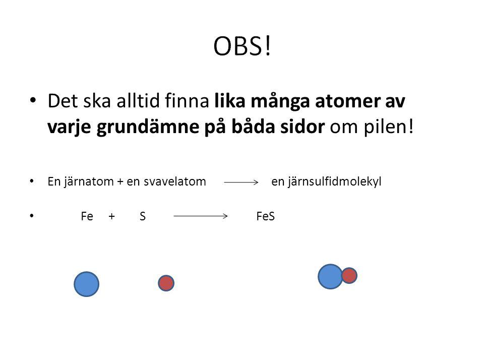 OBS! Det ska alltid finna lika många atomer av varje grundämne på båda sidor om pilen! En järnatom + en svavelatom en järnsulfidmolekyl.