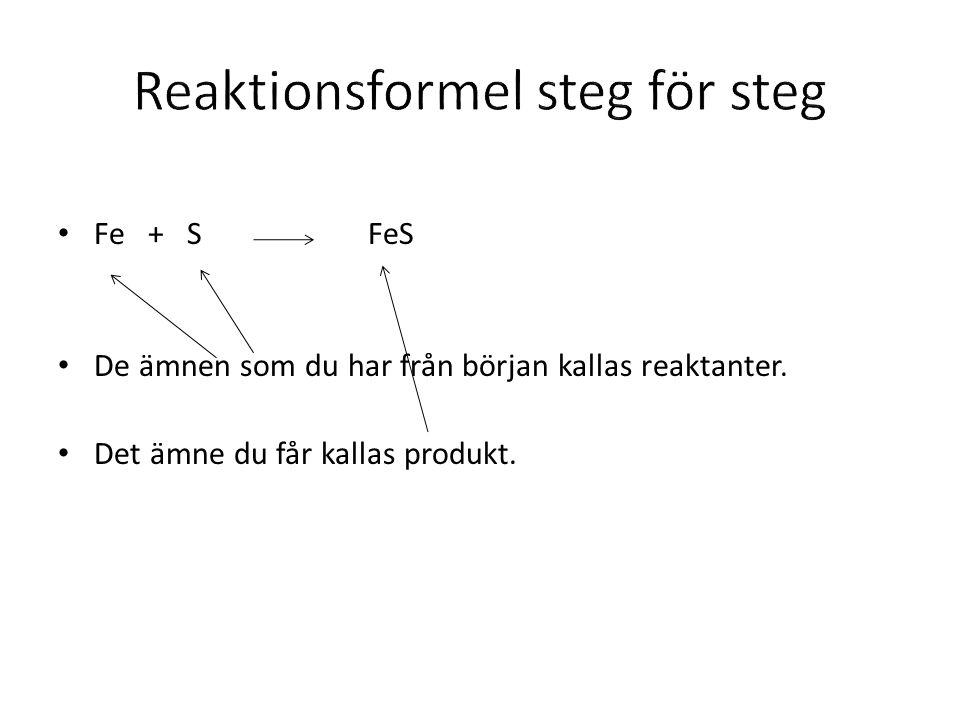 Reaktionsformel steg för steg