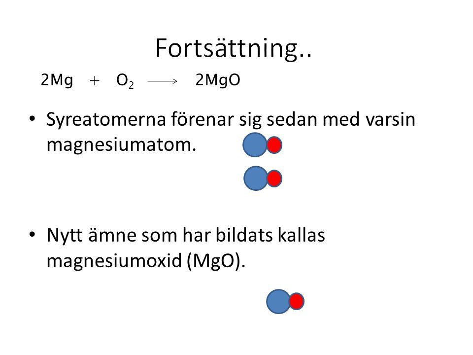 Fortsättning.. 2Mg + O2 2MgO. Syreatomerna förenar sig sedan med varsin magnesiumatom.