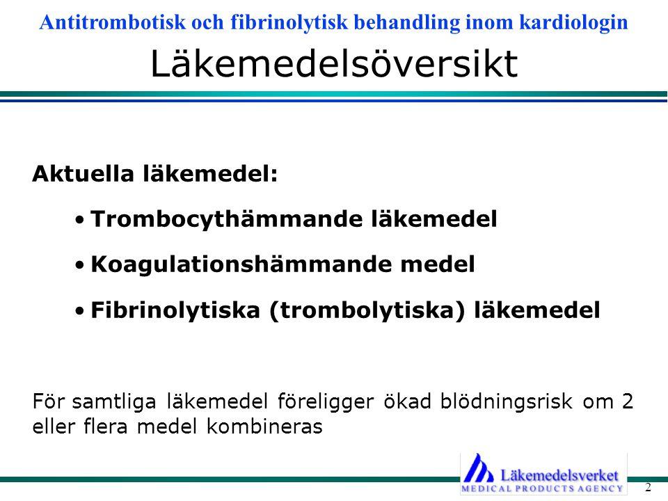 Läkemedelsöversikt Aktuella läkemedel: Trombocythämmande läkemedel