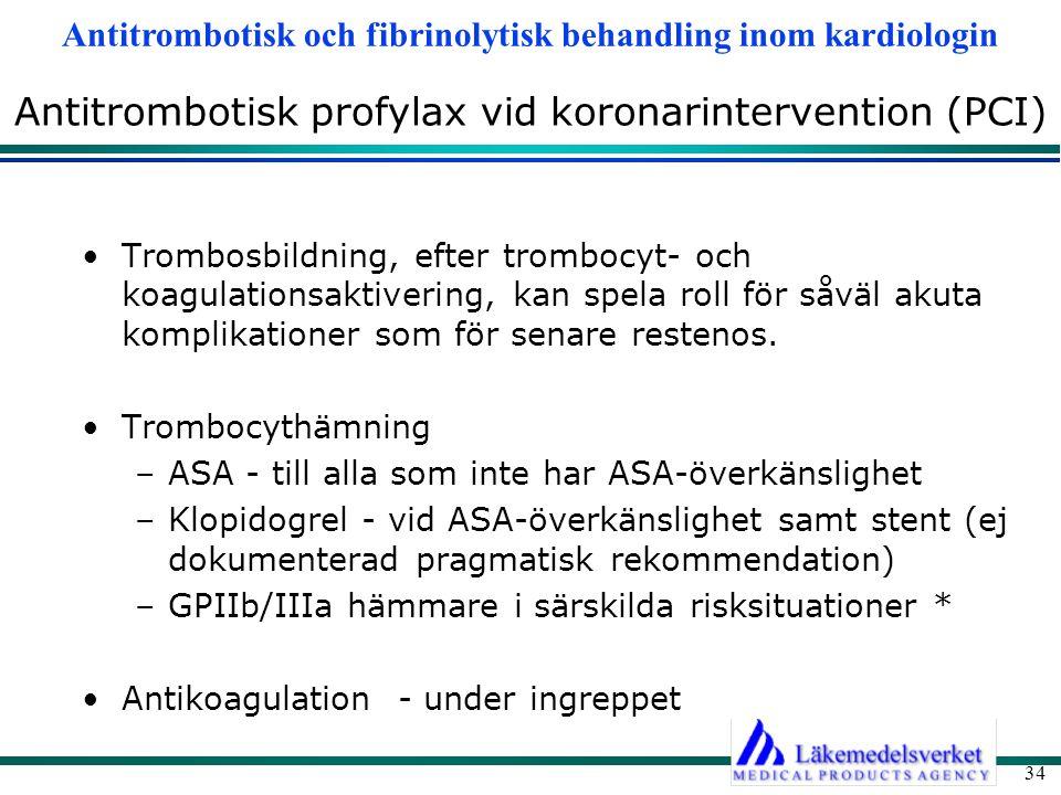Antitrombotisk profylax vid koronarintervention (PCI)