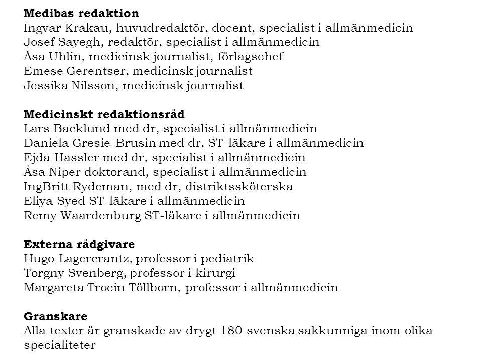 Medibas redaktion Ingvar Krakau, huvudredaktör, docent, specialist i allmänmedicin. Josef Sayegh, redaktör, specialist i allmänmedicin.