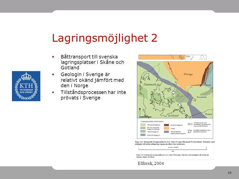 Lagringsmöjlighet 2 Båttransport till svenska lagringsplatser i Skåne och Gotland. Geologin i Sverige är relativt okänd jämfört med den i Norge.