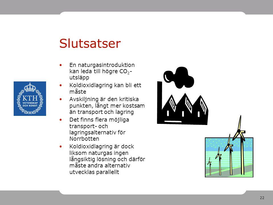 Slutsatser En naturgasintroduktion kan leda till högre CO2-utsläpp