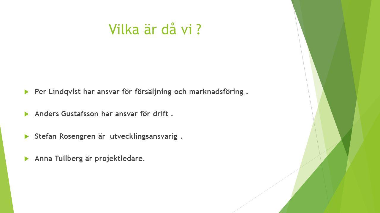 Vilka är då vi Per Lindqvist har ansvar för försäljning och marknadsföring . Anders Gustafsson har ansvar för drift .